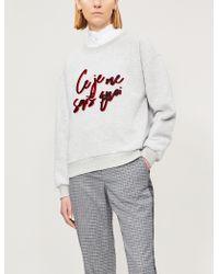 Claudie Pierlot Trudie Slogan Cotton-blend Sweatshirt - Gray