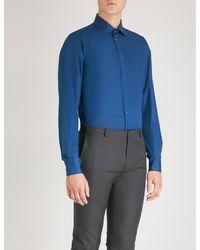 Richard James Contemporary-fit Cotton Shirt - Blue