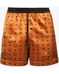 MCM Brand-print Relaxed Stretch-silk Pyjamas Shorts - Orange