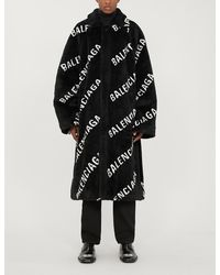 Balenciaga Oversized Logo-print Faux-fur Coat - Black