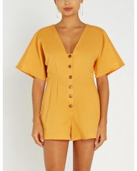 236cea75b28 Seafolly - Low-back Tassel-trimmed Linen And Cotton-blend Playsuit - Lyst