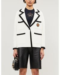 Sandro Embroidered-patch Stretch-knit Jacket - White