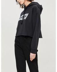Levi's Cropped Glittered Logo-print Cotton-jersey Hoody - Black