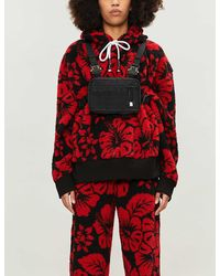 Palm Angels Floral-print Teddy Hoody - Red