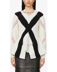 Alexander McQueen Woven-pattern Wool And Cashmere-blend Jumper - Black