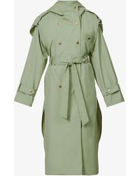 Sandro Arie Belted Cotton-blend Trench Coat - Green