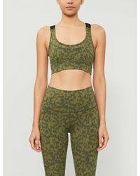Varley Edris Leopard-print Stretch-jersey Sports Bra - Green