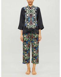 YOLKE Aimee Anaïs-print Silk Pyjama Set - Black