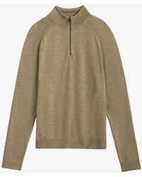 Ted Baker Funnel-neck Cotton-blend Jumper - Natural