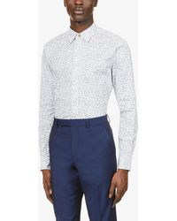 Paul Smith Floral-print Slim-fit Cotton Shirt - White