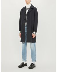 Sandro Single-breasted Wool-blend Coat - Blue