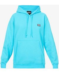 Obey All Eyes Branded-patch Cotton-blend Hoody - Blue
