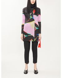 Pleats Please Issey Miyake Abstract-print Woven Pleated Cardigan - Black