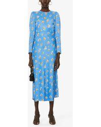 Kitri Anna Ditsy Floral-print Satin Midi Dress - Blue