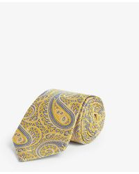 Eton of Sweden Large Paisley Silk Tie - Yellow