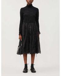 Renli Su Turtleneck Relaxed-fit Wool-blend Midi Dress - Black