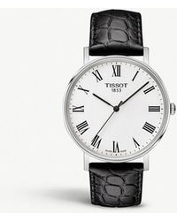 Tissot - Everytime Stainless Steel And Leather Watch - Lyst