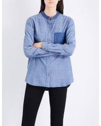 Closed Ladies Buttoned Button Fastening Patchwork Cotton-blend Shirt - Blue