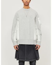 Sacai Ma-1 Panelled Jersey And Shell Jumper - Gray