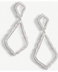 Kendra Scott Alexa 14ct White Gold And Diamond Earrings
