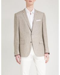 BOSS - Single-breasted Wool And Linen-blend Jacket - Lyst
