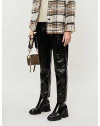 TOPSHOP Tall Black Cracked Faux Leather Vinyl Peg Pants