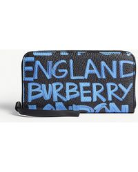 Burberry - Elmore Graffiti-print Grained Leather Wallet - Lyst