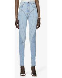 Mugler Spiral High-rise Stretch-denim Jeans - Blue