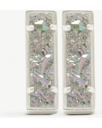 Kendra Scott - Lady Rhodium-plated Brass And Iridescent Drusy Bar Earrings - Lyst