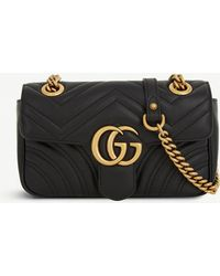 5cbc86a5ad6 Gucci - Women s Black Heart Embroidered Marmont GG Mini Leather Cross Body  Bag - Lyst
