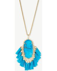 Kendra Scott - Betsy 14ct Gold-plated Aqua Howlite Tassel Necklace - Lyst