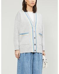 Sandro Contrast-tape Woven Cardigan - Gray