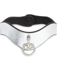 Fleet Ilya - Slim O-ring Metallic Leather Choker - Lyst