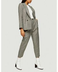 TOPSHOP Considered Mint Check Ovoid Peg Pants - Multicolor