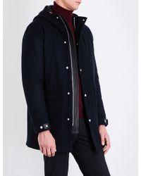 Sandro Hooded Wool-blend Coat - Blue