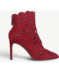 Alaïa - Studded Laser-cut Suede Ankle Boots - Lyst