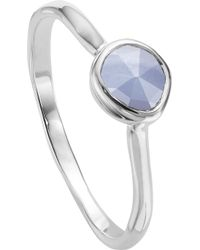 Monica Vinader - Siren Sterling Silver And Blue Lace Agate Small Stacking Ring - Lyst