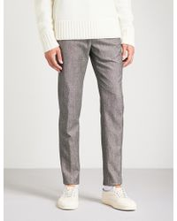 Slowear - Pinhead Slim-fit Tapered Wool And Cotton-blend Trousers - Lyst