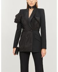 Alexander McQueen - Pleated Padded-shoulders Wool And Silk-blend Jacket - Lyst