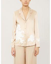 Myla Primrose Hill Floral-embroidered Silk-satin Pyjama Top - Natural