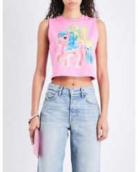 Moschino - My Little Pony-print Stretch-cotton Cropped Top - Lyst