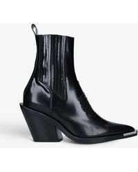 Paco Rabanne Logo-embossed Leather Chelsea Boots - Black
