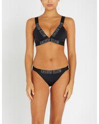 Calvin Klein - Logo-embossed Plunge Bikini Top - Lyst