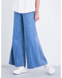 Miharayasuhiro - Ladies Blue Unique Wide-leg High-rise Jeans - Lyst