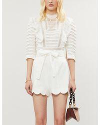 Zimmermann Zinnia Scalloped-hem High-rise Linen Shorts - White