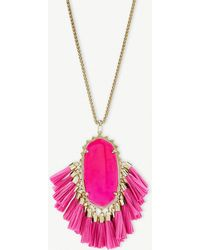 Kendra Scott - Betsy 14ct Gold-plated Pink Agate Tassel Necklace - Lyst