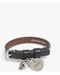 Alexander McQueen - Skull Studded Leather Bracelet - Lyst