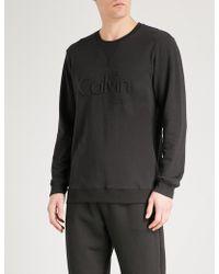 Calvin Klein | Embossed Brand Logo Cotton-jersey Pyjama Top | Lyst