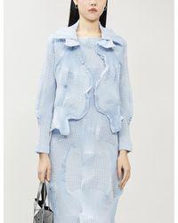 Issey Miyake Scalloped Textured Woven Jacket - Blue