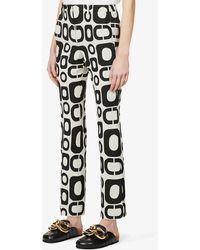 Max Mara Rivolo Graphic-print Cotton-blend Trousers - Black